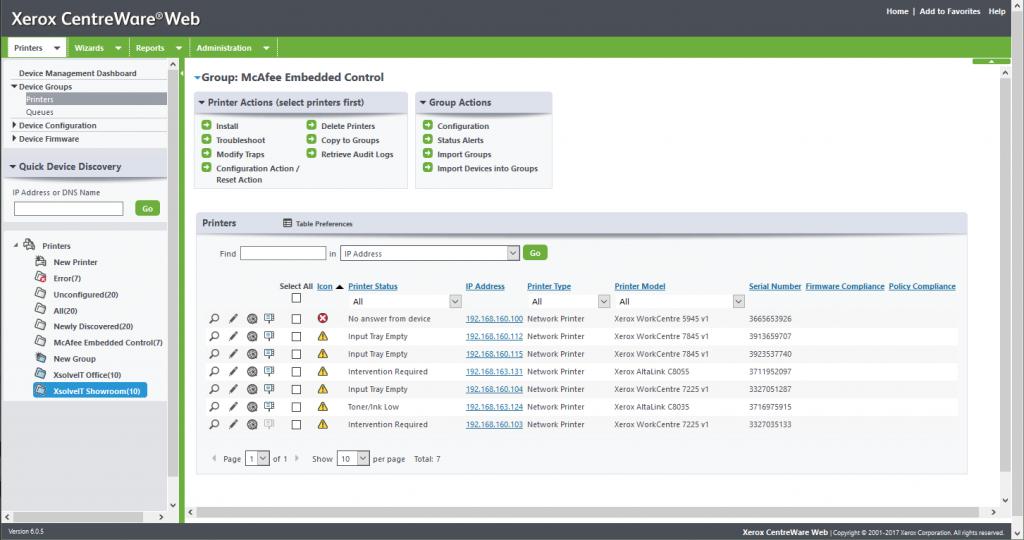 Xerox Centreware Web Screenshot